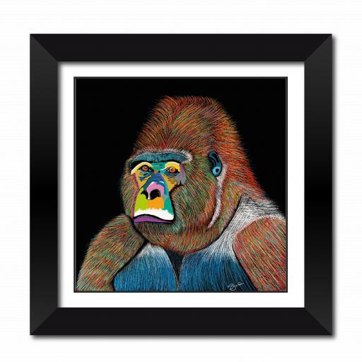 Silver The Gorilla Fine Art Framed Print