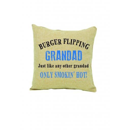 Burger Flipping Grandad Cushion