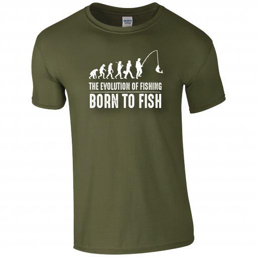 The Evolution of Fishing, Born to Fish Humour T-shirt