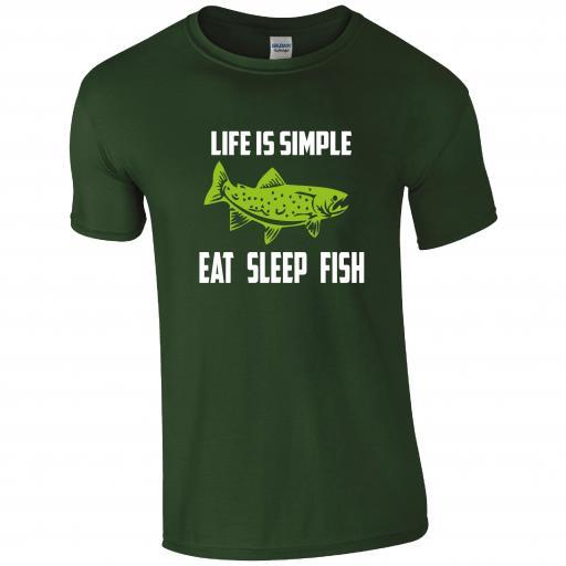 Life is Simple, Eat Sleep Fish, Fishing Humour T-shirt