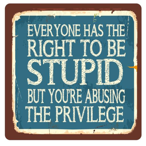 Everyone has the right to be stupid, Metal Wall Sign
