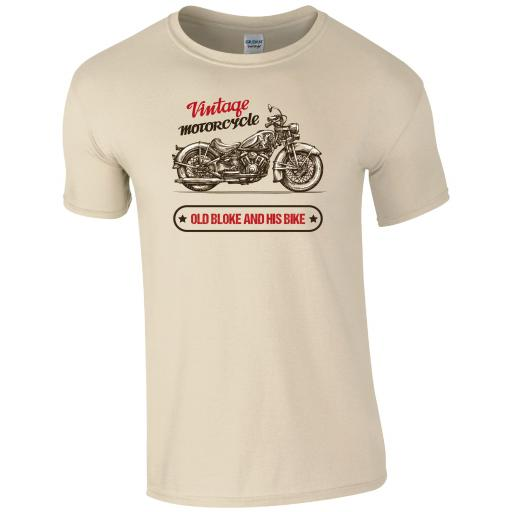 Vintage Motorcycle, Old Bloke and His Bike Motorbike T-Shirt