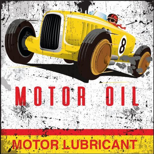 Yellow Car Motor Oil Coaster
