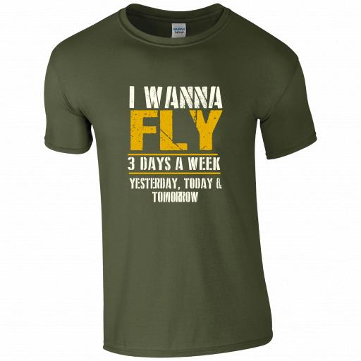 I Wanna Fly 3 Times a Week, Yesterday, Today and Tomorrow Pilot Humour T-shirt