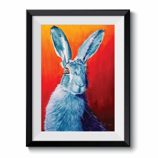 Orange Hare Pastel Drawing A3 Print Framed Print
