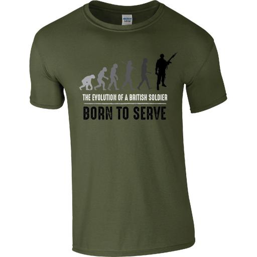 Army - The Evolution of a British Soldier T-Shirt - BORN TO SERVE
