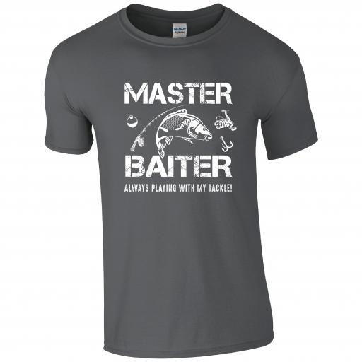 Master Baiter, Always Playing with my tackle, Fishing Humour T-shirt